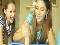 Horny pigtail teen having fun on a handjob