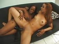 Black women playing on the couch