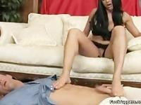 Audrey Bitony footjob and foot play.