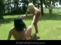 Crazy blonde spanks brunette and puts her suck