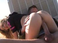 Blonde teen shows off on the roof