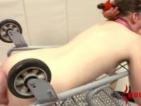 Anal teen gets ass fucked on a cold metal shopping cart at mental hospital