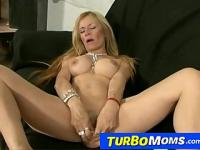 Slim spanish cougar Alejandra gets dildo-fuck then fucked
