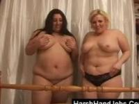 Two bbw ladies giving a harsh handjob