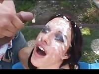 Facial treatment with cum