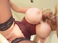 Voluptuous blonde has pink snatched licked and messy cumshot on huge melons