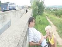 Hot blonde fuck in the highway