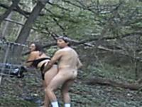 Amateur couple fucking in the forest
