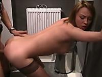 Sexy chick doesnt care if she gets fucked next to a toilet