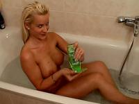 Hot amateur blonde with a perfect body gets taped in the bathroom