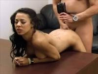 Exotic caramel college chick goes all the way at a casting