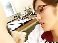 Asian woman doctor handjob