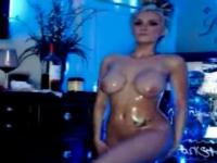 Disco busty chick with hot oiled body rubbing