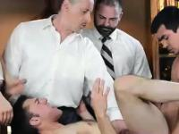 Young guy assfucked in old vs young kinky gay group