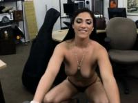 Hot babe satisfied by pervert pawnkeeper in the backroom