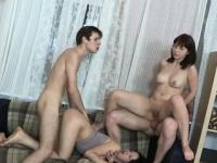 Vehement gang-bang fucking session with enchanting ladies