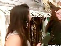 Ladies shocked in dressing room by wanking guy