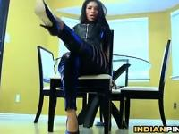 Indian Babe In Leather Pants Being A Tease