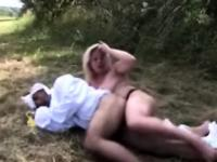 Babysitter destroys pervs butt hole in a public park