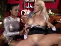 Pierced clit glam whore riding old cock