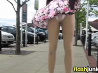 Wind Blowing A MILFs Skirt Around In Public