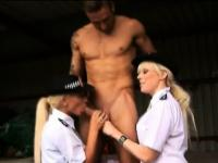 Blonde cfnm brit cops facialized