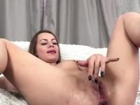Sasha Ksu stuffs big vegetables into her meaty pussy