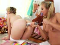 Milk enema blonde duo at food party