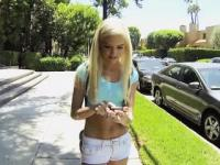 Smoking hot petite teen Halle Von banged for money