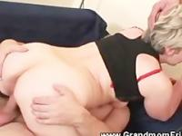 Granny riding and sucking threesome
