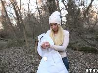 Beautiful Czech girl banged in the woods for alot of cash