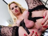 Blondie TS Dany jacks in front of mirror