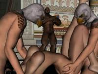 3D redhead double teamed by two guys wearing masks