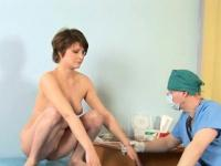 Shy young girl and horny gynecologist