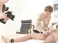 Domina photographs naked slave and horny friend