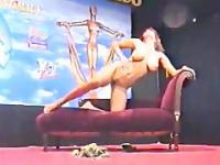 Arabian Belly Dancer in Blue Dress strips for Audience
