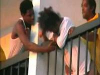 Drunk ghetto bitch gets fucked on a balcony in public