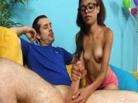 Hot Teen Jerks Off Her Step-Brother