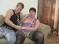 Naughty granny jumps on stiff meat