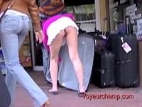 Upskirt Flashing Exhibitionist Wife Tatiana Teasing While Husband At Work!