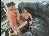 Busty brunette brings over her boy toy to give her a raunchy fuck