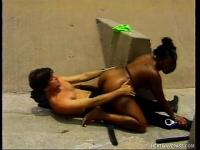 Kinky cop enjoys a sneaky screwing session with a black babe