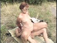 Dirty grandma is never too old to taste dick and get fucked outside