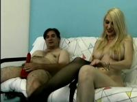Pale white blonde in black pantyhose is desperate to get pounded deep