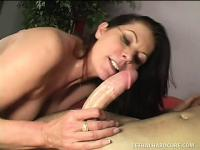 Mature lady tongues the young stud's anal hole before wildly fucking his hard cock