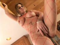 Jaylyn Rose in red fishnets loves foot worship by horny older men
