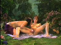 Sensual brunette lesbians with amazing bodies provide to each other intense pleasure