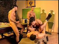 Horny soldier boys have an orgy and break in the twink up his ass