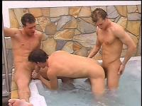 Gay trio swim and shower together, then get down to business in the spa