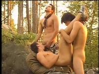 Hot jogger finds two gays in the woods and joins them for a hardcore threesome